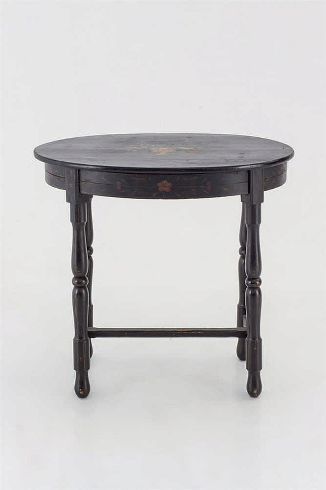 An occasional  Spanish wood painted oval table