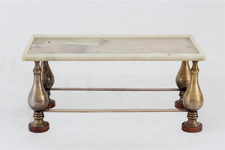 A brass and onix sofa table