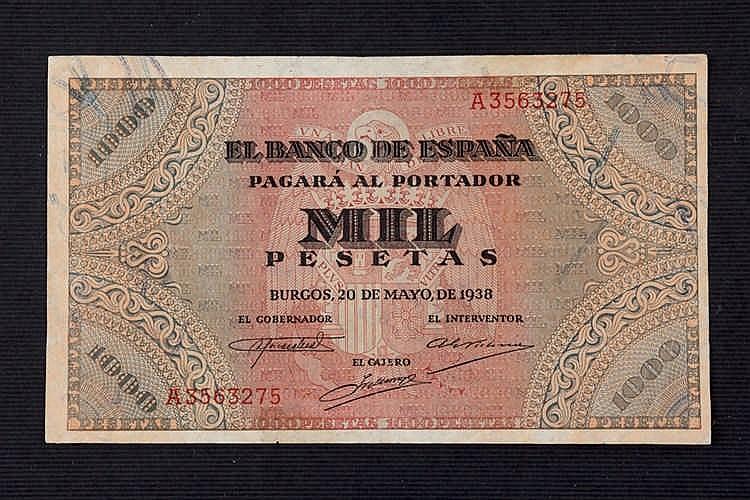 A 1000 pesetas bill. 1938