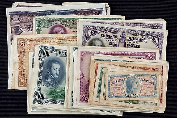 Lot of 115 bills Spanish Republic