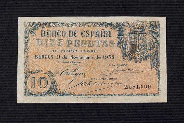 A 10 pesetas bill. 1936