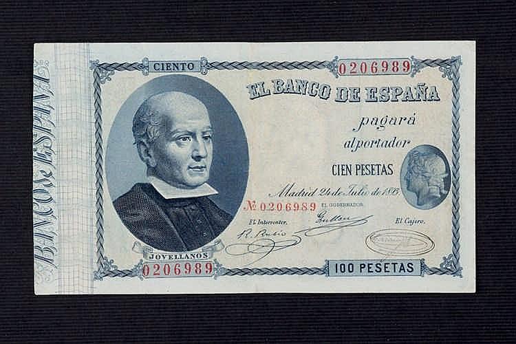 A 100 pesetas bill. 1893