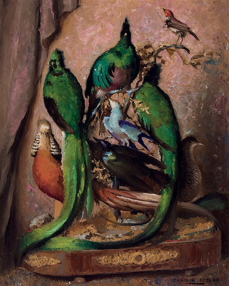 Enrique Segura. Still life with birds