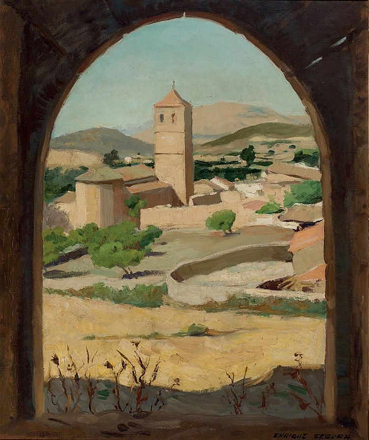 Enrique Segura. Village wiew with church