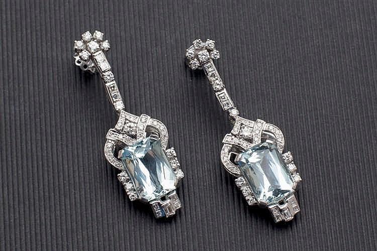 Diamond and aquarime earrings