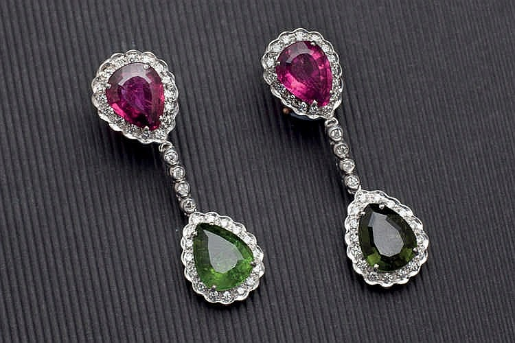 White gold tourmaline and diamond earrings