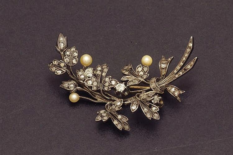 Silver and gold diamond brooche