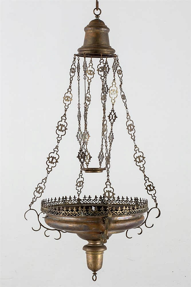 A 18 th.-19th.C brass votive celling lamp