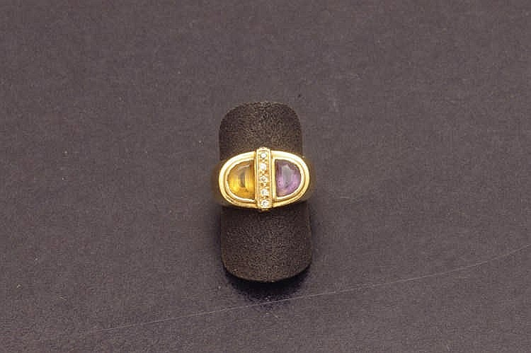 Amethyst, citrine and diamond ring