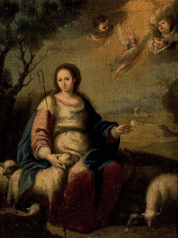 Spanish School 19th C. Divine Shepperdess