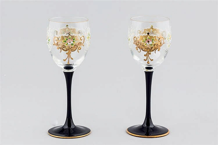 A set of six Murano wine glass