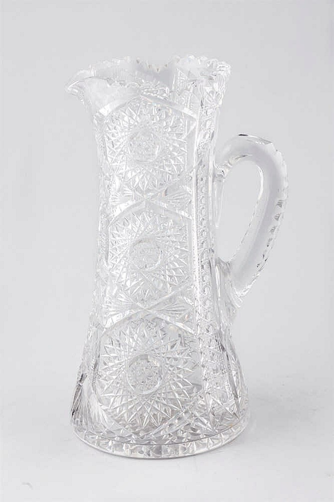 A cut glass jug