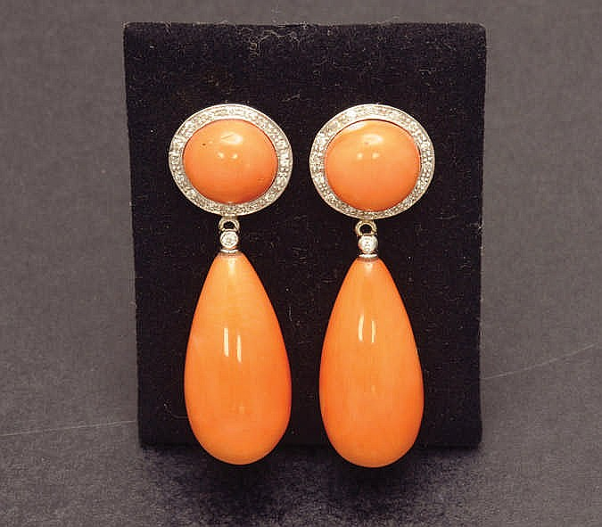 white gold, coral and diamond earrings