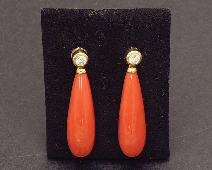 Gold, coral and diamond earrings