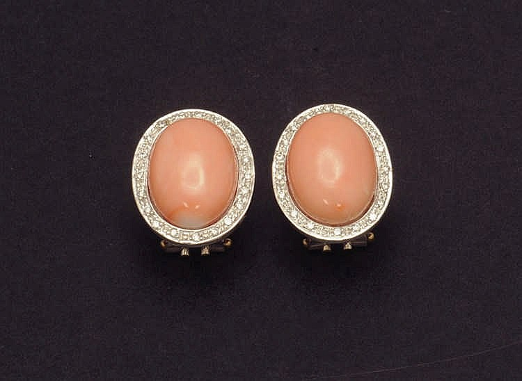 Coral and diamond earrings