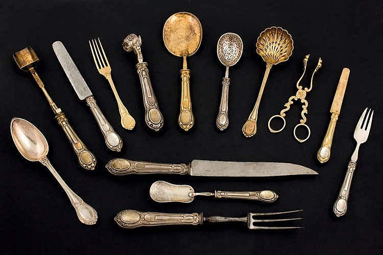 A 19 th. C French silver cutlery