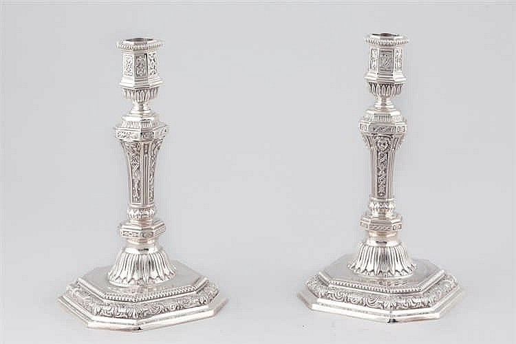 A pair of Christofle silver metal candlestick