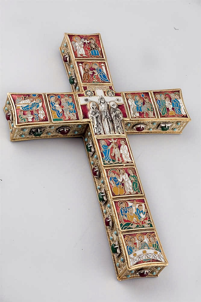 A Morato enamel and gilt metal cross.