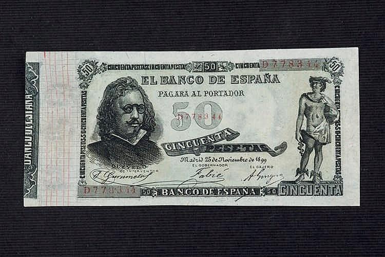 A 50 pesetas bill. 1899