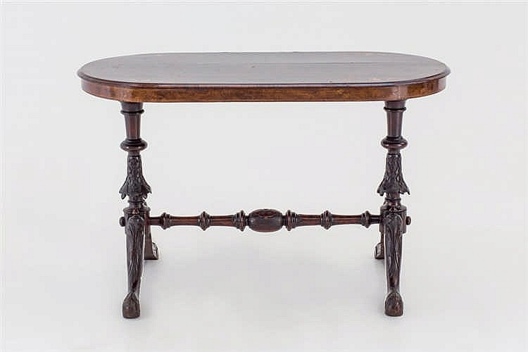 A 19th.C Victorian burr wood table