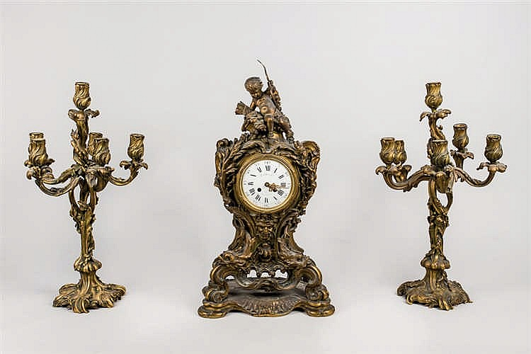 A late 19th.C French gilt bronce garniture