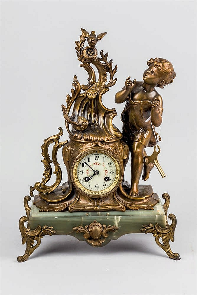 A calamine and onix mantelclock. C. 1900