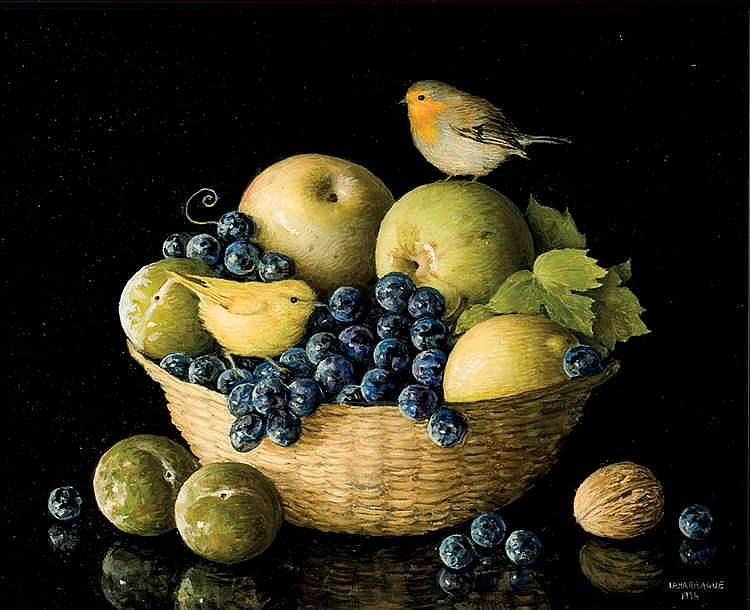 Carlos Laharrague. Still life with little birds