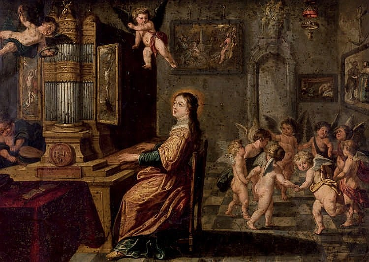 Folllower of Willen van Herp. Saint Cecilia