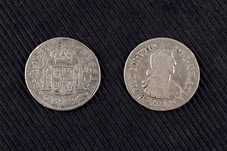 Ten Spanish coins: 1/2 real. Fernando VII