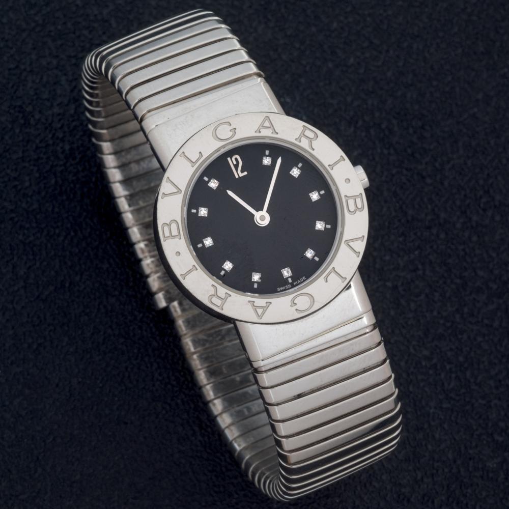 Bulgari steel and diamond watch