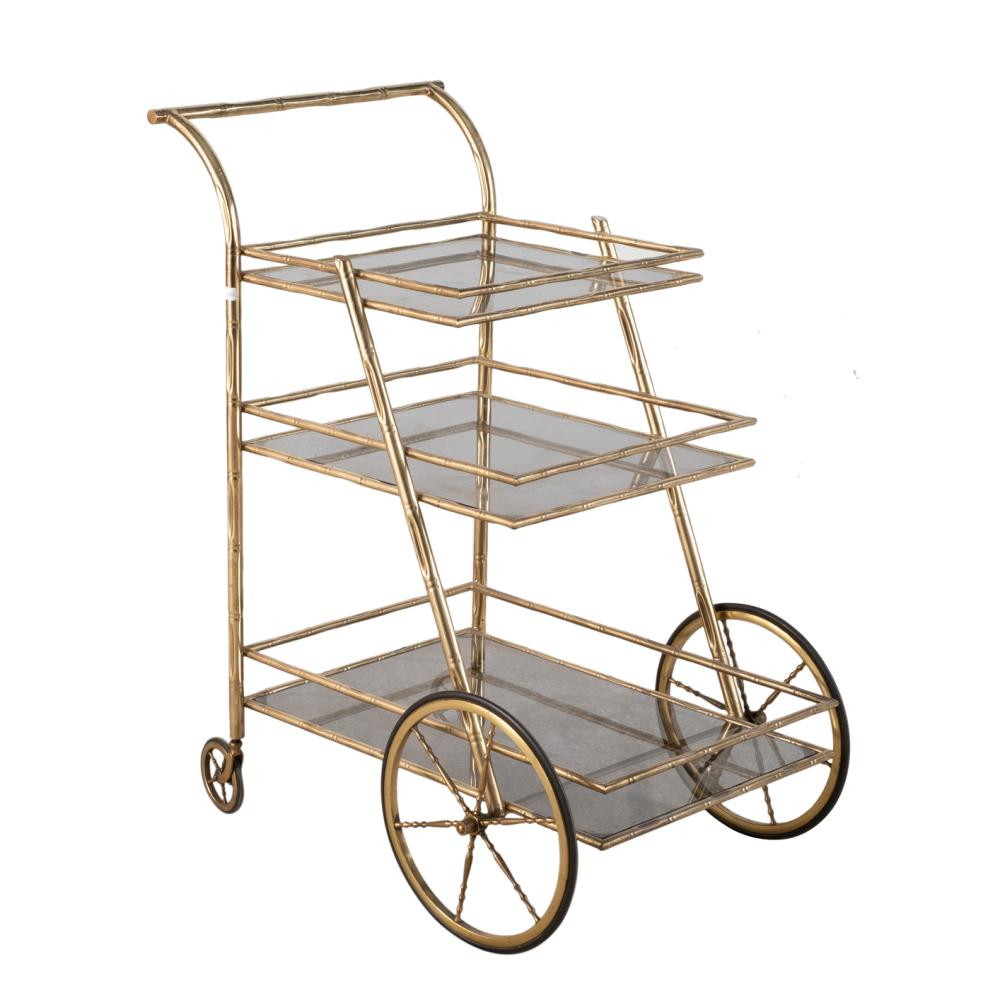A gilded metal drinks cart. Spain 1970's