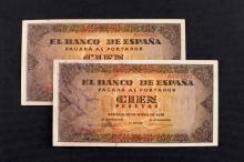 Dos billetes de 100 pesetas