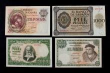 Lote de 4 billetes de 1000 ptas. 1936-40-46-51
