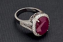 Diamond and ruby treated ring