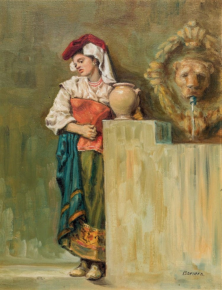 Antonio Barrera. Militar and Girl in the fountain