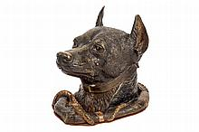 A dog-shaped inkwell, late 19th C.