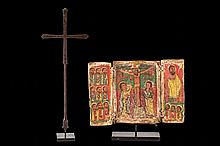 An Ethiopiann 16th C. Tryptich and Cross