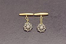 Silver and gold diamond cufflinks