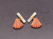 Coral and mother of pearl cufflinks