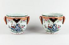 Pair of Chinese porcelain cachepot. 19th.C