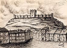Spanish School, 20th C. Castle of Peñafiel