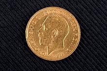 A gold half pound. England. 1911