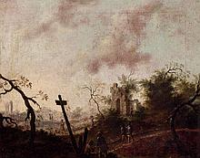 19th C. European School. Peasants and ruins