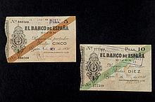 Two bills of 5 and 10 pesetas. 1936