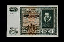 Bill of 500 pesetas. 1940