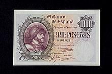 Bill ofl 1000 pesetas. October 1940