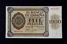 Bill of 1000 pesetas. 1936