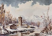 Rafael Oller. Village under the snow