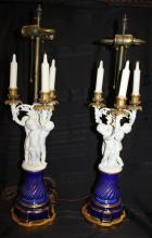 Pair of 19th Century Cherub Sevres Candelabra Lamps