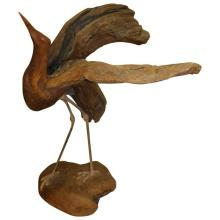 Large Driftwood Bird Sculpture - SIGNED